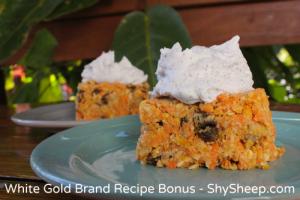 Raw Carrot Cake - White Gold Brand Recipe Bonus - Shy Sheep